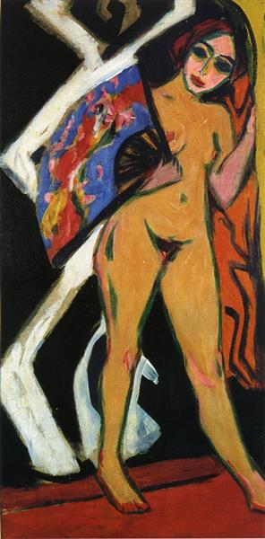 Dodo with Large Fan, 1910 - Ernst Ludwig Kirchner