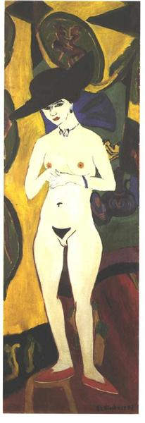Female Nude with Black Hat - Kirchner Ernst Ludwig
