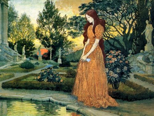 Girl in the Garden - Eugène Grasset