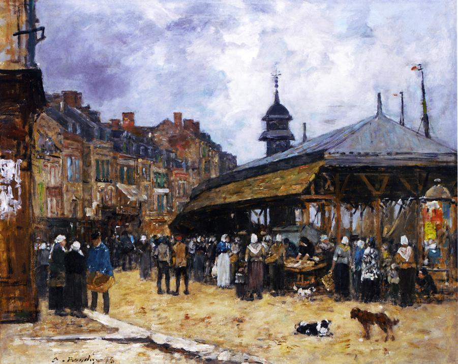Market Day at Trouville, Normandy, 1878