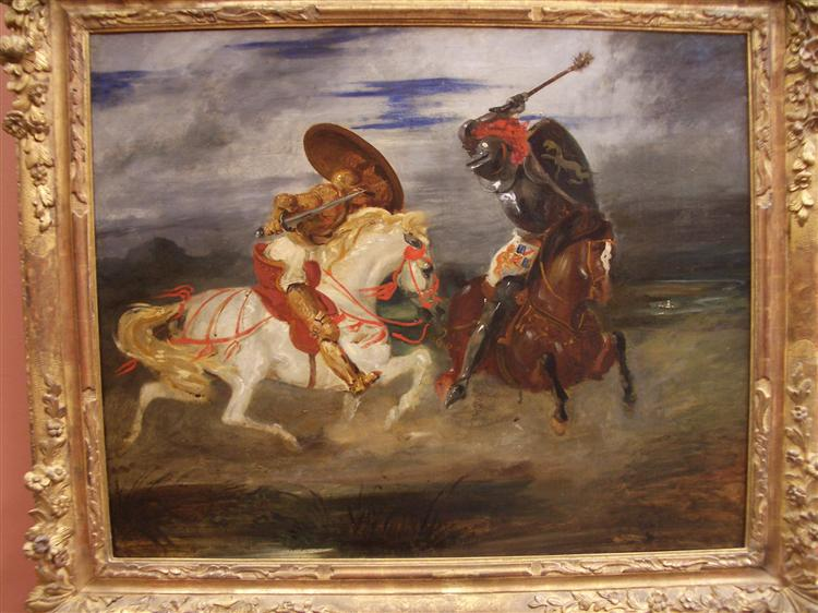 Confrontation of knights in the countryside, 1834 - Eugene Delacroix