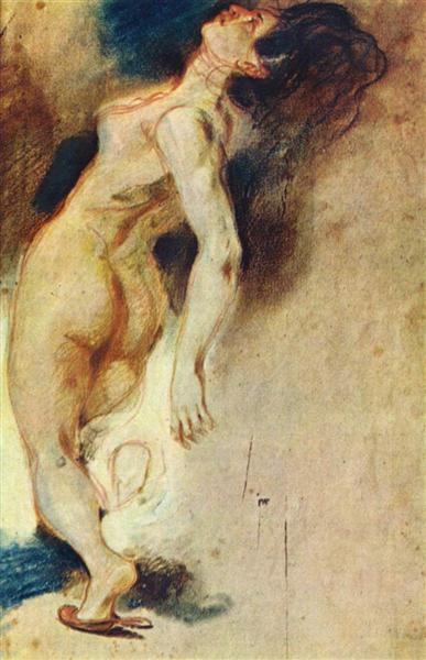 Female Nude Killed from Behind, c.1827 - Eugene Delacroix
