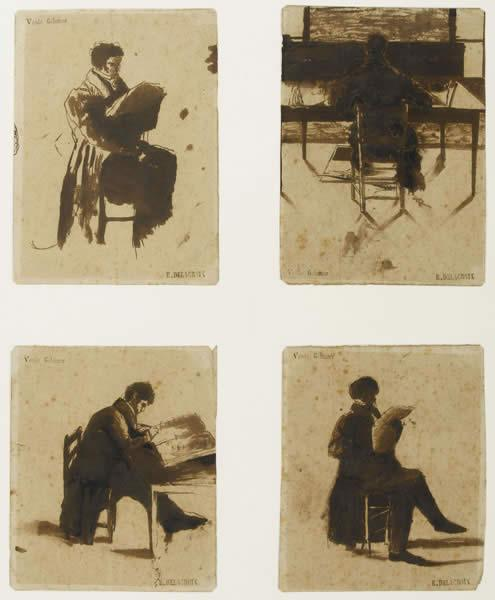 Four Views of men sitting, 1838 - Eugene Delacroix