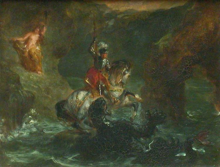 Saint George Fighting the Dragon, Perseus Delivering Andromeda, 1847 - Eugene Delacroix