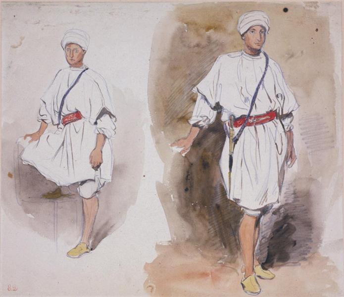 Two Views of a Young Arab, 1832 - Eugène Delacroix
