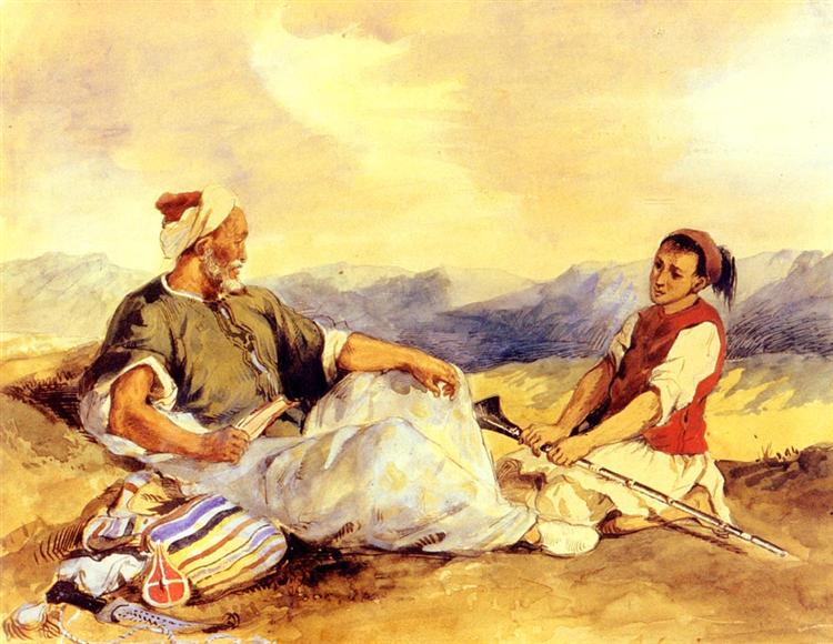 Two Moroccans Seated In The Countryside - Eugene Delacroix