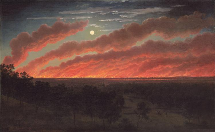 Bush fire between Mount Elephant and Timboon, 1857 - Ойген фон Герард
