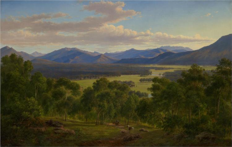 Spring in the valley of the Mitta Mitta with the Bogong Ranges, 1866 - Eugene von Guerard
