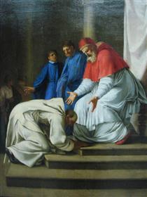 Saint Bruno the feet of Pope Urban II - Eustache Le Sueur