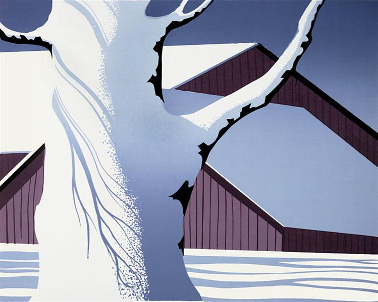 Red Barn and Tree Trunk, 1974 - Eyvind Earle
