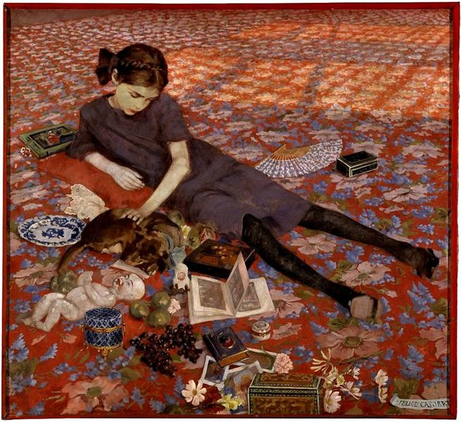 Girl on a red carpet, 1912 - Felice Casorati