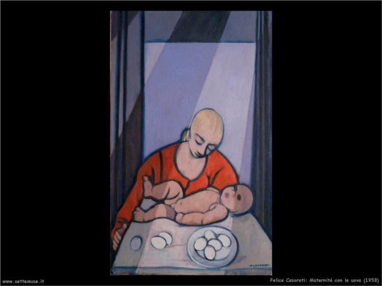 Maternità con le uova, 1958 - Felice Casorati