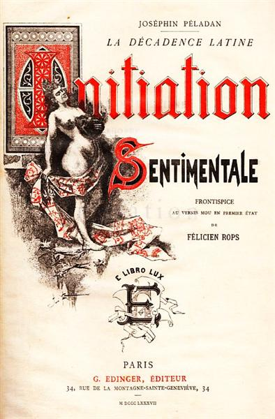 Front Cover of Joséphin Péladan's Novel 'Initiation Sentimentale', 1887 - Félicien Rops
