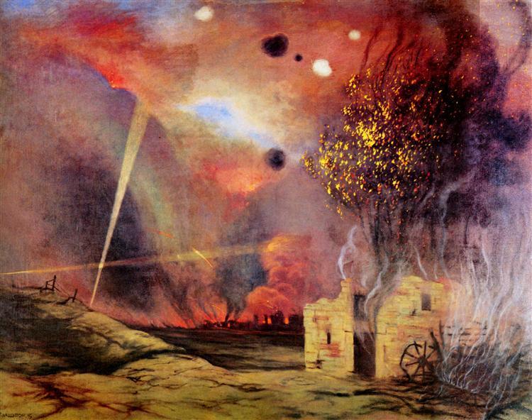 Landscape off ruins and fires, 1914 - Felix Vallotton