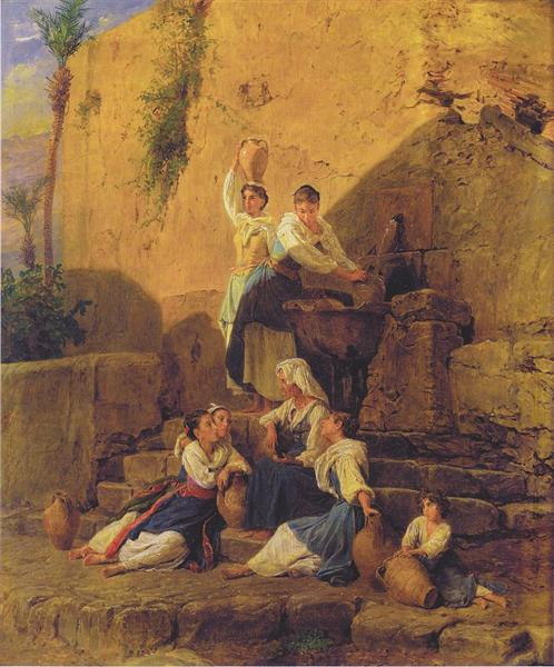 At the fountain in Taormina, 1846 - Ferdinand Georg Waldmüller