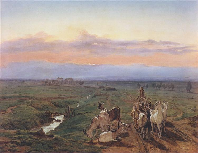 Evening landscape with herd of goats, 1847 - Ferdinand Georg Waldmüller