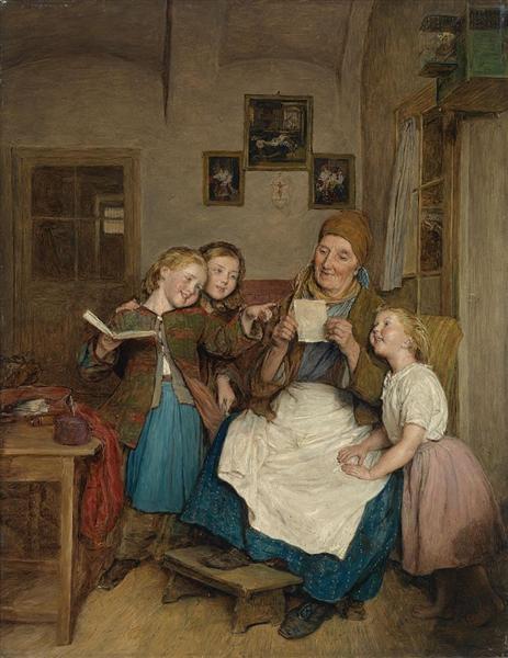 Grandmother with three grandchildren, 1854 - Ferdinand Georg Waldmüller