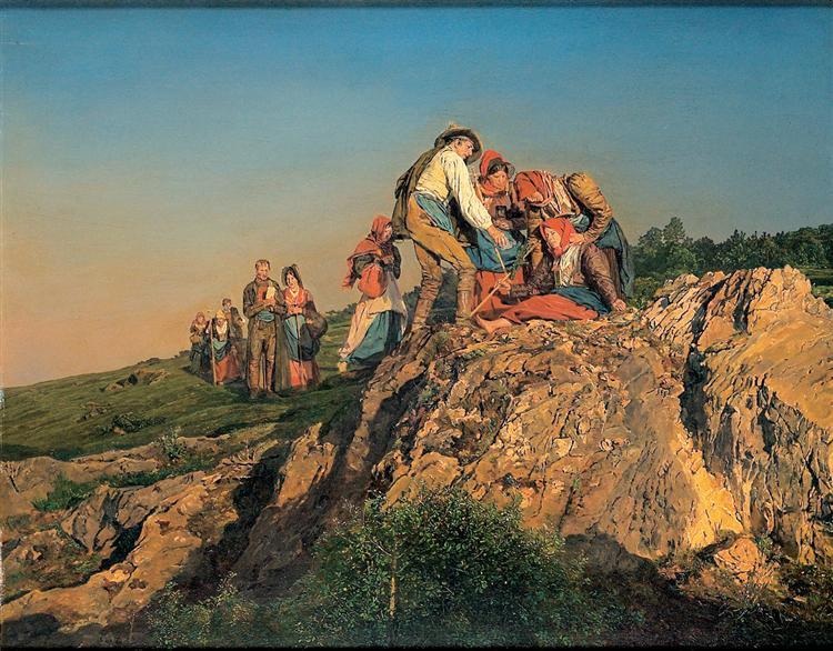 The halted Pilgrimage (The assistance), 1853 - Ferdinand Georg Waldmüller