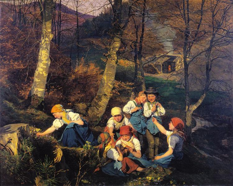 The violets pickers (Early Spring in the Wienerwald), 1858 - Фердинанд Георг Вальдмюллер