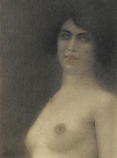 Nu aux cheveux noirs, 1922 - Фернан Кнопф