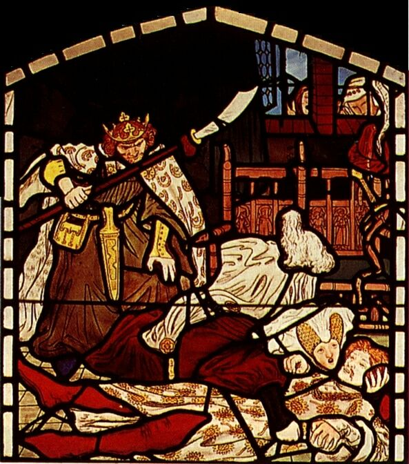 The Death of Sir Tristan, from 'The Story of Tristan and Isolde', William Morris & Co.