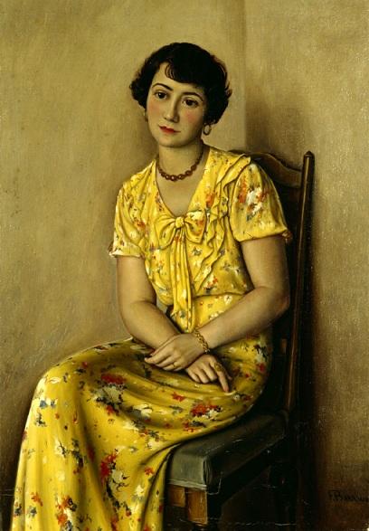 Jeune femme en jaune - François Barraud