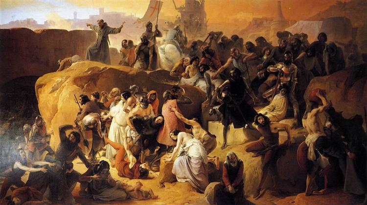 Crusaders Thirsting near Jerusalem, c.1843 - Francesco Hayez
