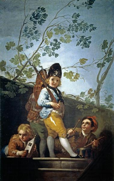 Boys playing soldiers, 1779 - Francisco Goya