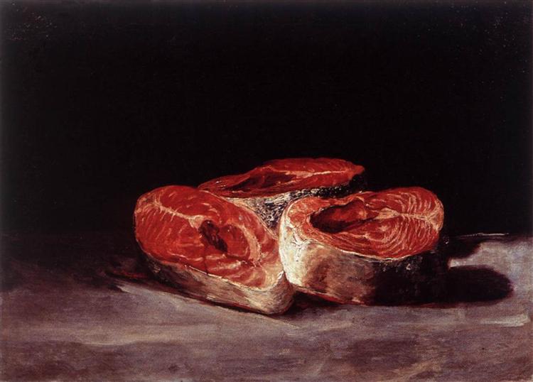Still Life Three Salmon Steaks, 1808 - 1812 - Francisco Goya