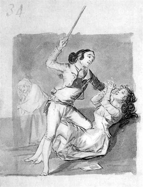Woman battered with a cane, c.1796 - c.1797 - Francisco Goya
