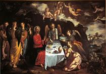The Supper with Christ and the Angels - Francisco Pacheco