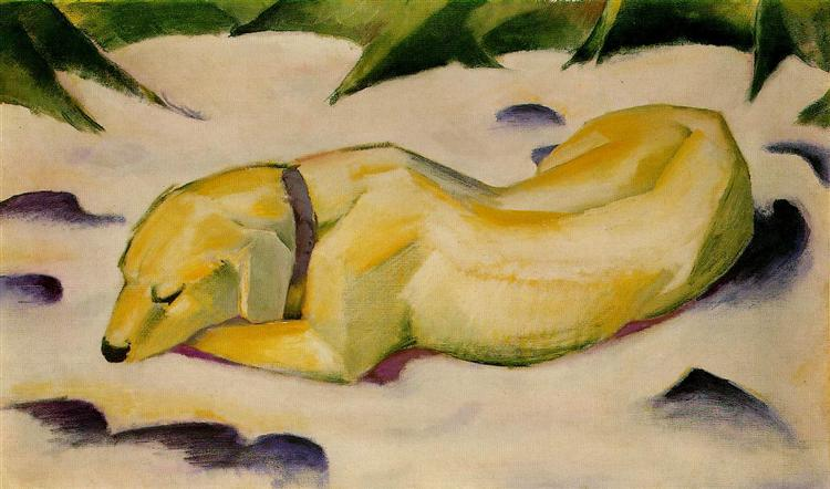 Dog Lying in the Snow, 1911 - Franz Marc