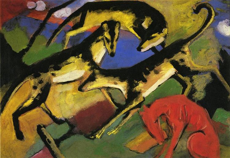 Playing Dogs, c.1912 - Franz Marc