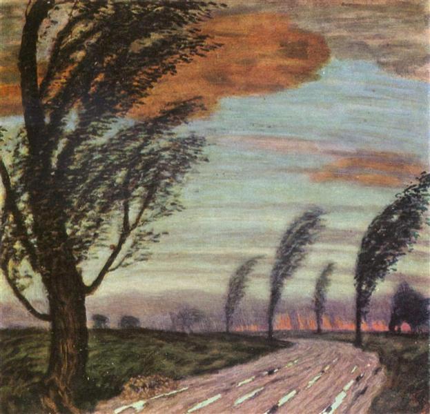 Landscape with storm, c.1920 - Franz Stuck