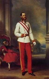 Franz Joseph I, Emperor of Austria  wearing the dress uniform of an Austrian Field Marshal with the Great Star of the Military Order of Maria Theresa - Franz Xaver Winterhalter
