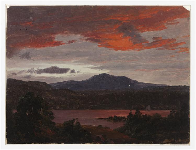 Turner Pond with Pomola Peak and Baxter Peak, Maine, 1853 - Frederic Edwin Church