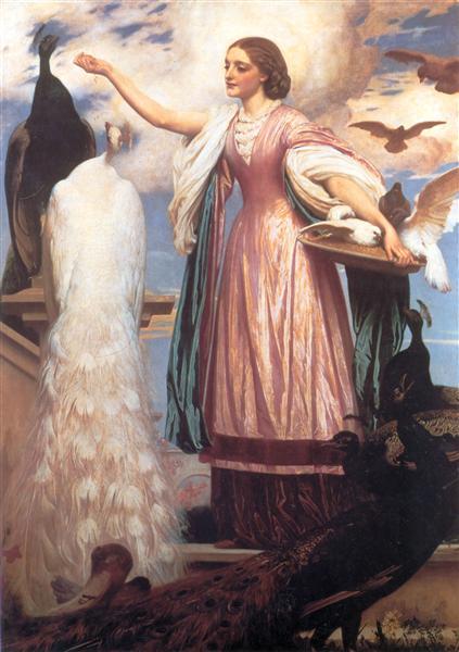 A Girl Feeding Peacocks, c.1863 - Frederic Leighton, 1. Baron Leighton
