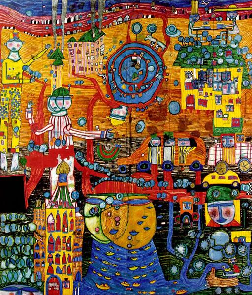 936 The 30 Days Fax Painting, 1994 - Friedensreich Hundertwasser