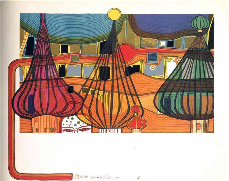 656 The Expulsion, 1967 - Friedensreich Hundertwasser