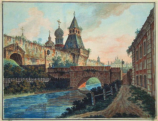 View of Vladimirskiye (Nikolskiye) Gate of Kitai gorod, 1805