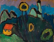 Landschaft mit Sonnenblumen - Gabriele Munter