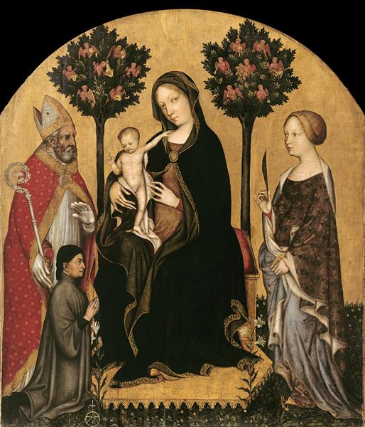 Mary Enthroned with the Child, Saints and a Donor - Gentile da Fabriano