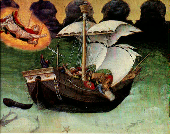Quaratesi Altarpiece, St.Nicholas saves a storm tossed ship, 1425 - Gentile da Fabriano