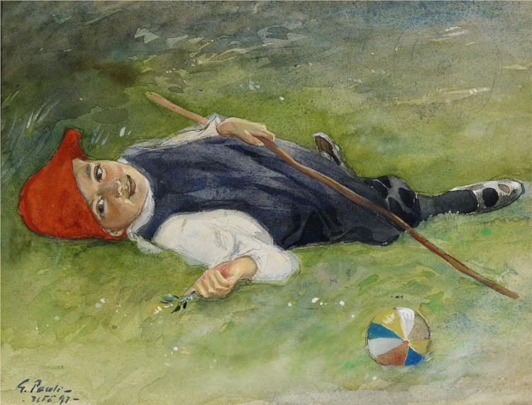 Göran in the green grass, 1897 - Georg Pauli