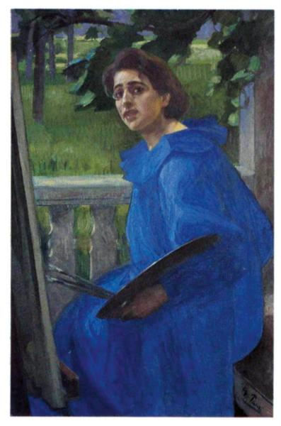 Hanna in a Blue Dress (Portrait of the Artist's Wife), 1896 - Georg Pauli