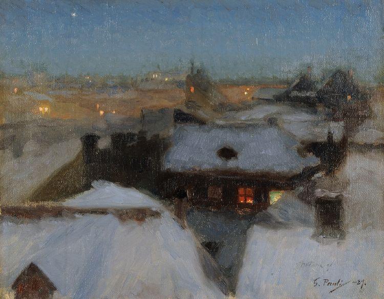 Winter Evening at Söder, Stockholm, 1889 - Georg Pauli