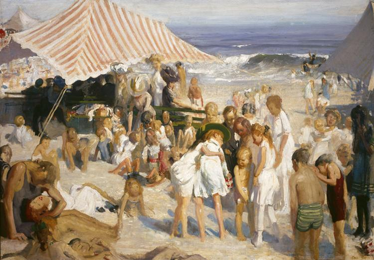 Beach at Coney Island, 1908 - George Bellows