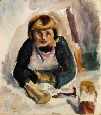 Kid eating breakfast, 1921