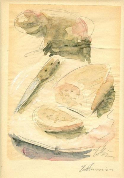 Still Life with Cheese Bread, 1929 - 1932 - George Bouzianis