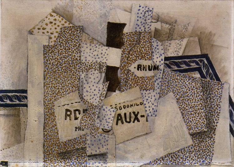 Zorz Brak ( Georges Braque ) - Page 5 Bottle-of-rum-1914